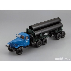 ZIL-157/TV-5 Truck with trailer for delivery big pipes (Blue)