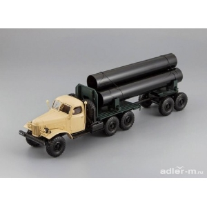 ZIL-157/TV-5 Truck with trailer for delivery big pipes (Beige)